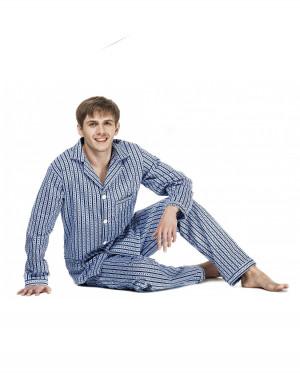 Pánské pyžamo Kuba Flanela Nadrozměrné 6XL-7XL modrý 6XL 182/160/150