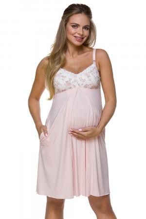 Těhotenská a kojící noční košilka Lupoline 3122 růžový