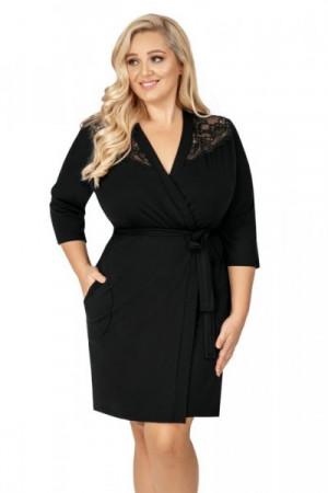 Donna Tess černý Župan Size Plus 5XL černá