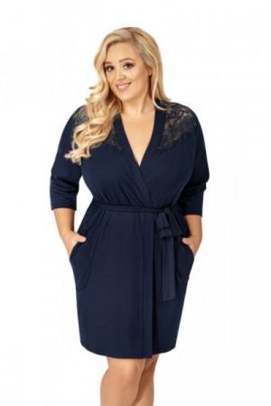 Donna Tess tmavě modrý Župan Size Plus 5XL tmavě modrá