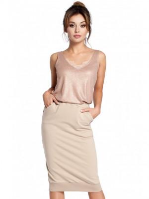 B031 Pletená tužková sukně s žebrovaným lemem lemu EU S. Béžový