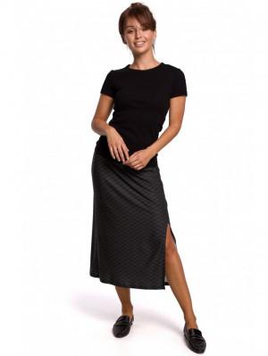 B168 Midi sukně s potiskem s děleným stehenním vzorem EU S. model1