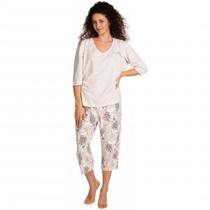 Dámské pyžamo Lama L-1395 PY-02 3/4 2XL-4XL béžová-ecru 3XL
