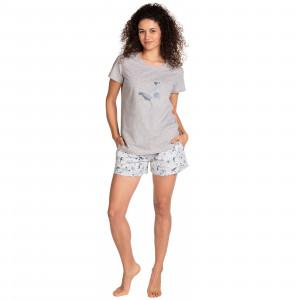 Dámské pyžamo Lama L-1399 PY kr/r S-2XL šedá melanž