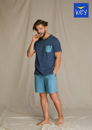 Pánské pyžamo MNS 349 A21 - Key tm.modra - sv.modrá