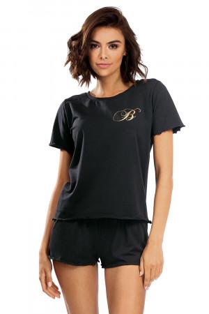 Dámské pyžamo P1504 - Lorin černá s potiskem 38/M