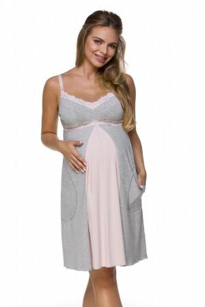 Dámská noční košilka Lupoline 3124 K šedo-růžová