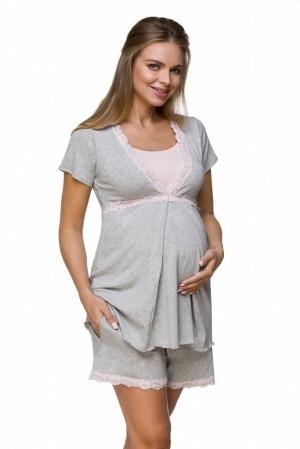 Dámské pyžamo Lupoline 3126 K šedo-růžová
