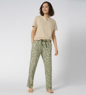 Dámské pyžamové kalhoty Mix & Match šedozelené - Triumph 00MM 036
