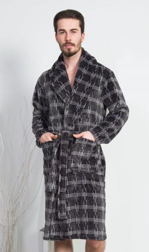 Pánský župan se šálovým límcem Adam - vestis tmavě šedá