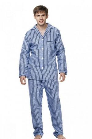 Kuba Flanela Nadwymiar Pánské pyžamo  plus size 6XL 182/160/150 modrá