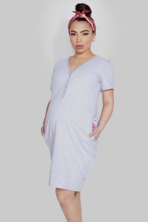 Těhotenská a kojící noční košile MAMA DRESS Námořnictvo