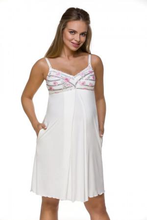 Těhotenská a kojící noční košile 3120 MK Ecru