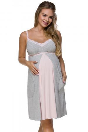 Těhotenská a kojící noční košile Lupoline 3124 šedo-růžová