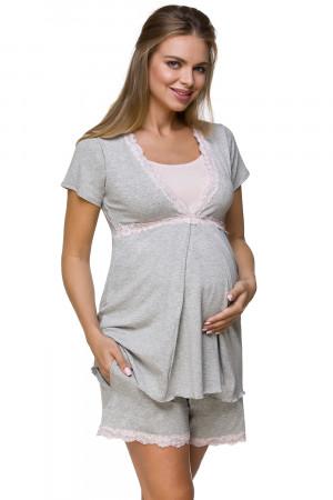 Těhotenské a kojící pyžamo Lupoline 3126 šedo-růžová