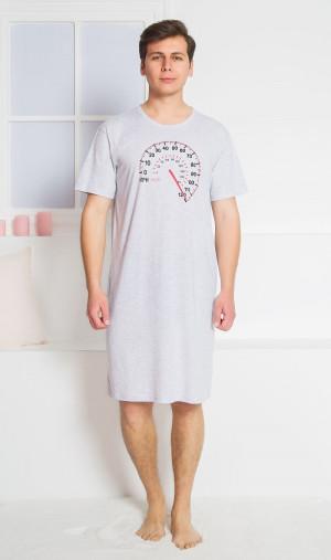 Pánská noční košile s krátkým rukávem Tachometr - Gazzaz šedá s potiskem