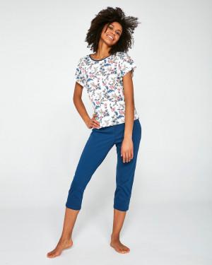 Dámské pyžamo 372/201 Sophie II - Cornette tmavě modrá-bílá