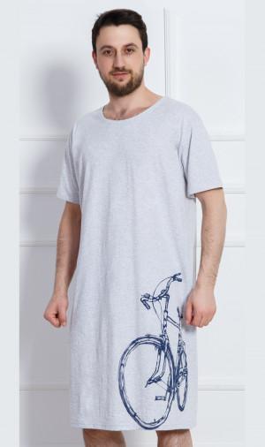 Pánská noční košile Bicykl - Gazzaz světle šedá 4XL