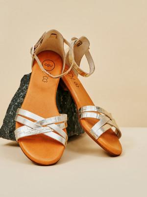 OJJU stříbrné kožené sandály -