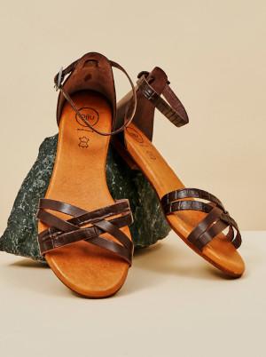 OJJU tmavě hnědé kožené sandály -