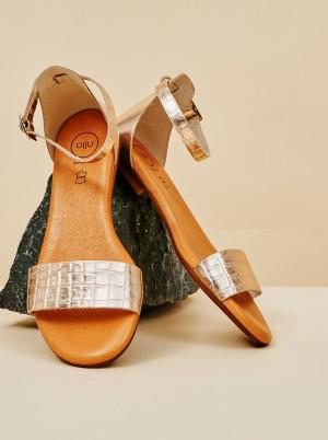 OJJU růžovo-zlaté kožené sandály -