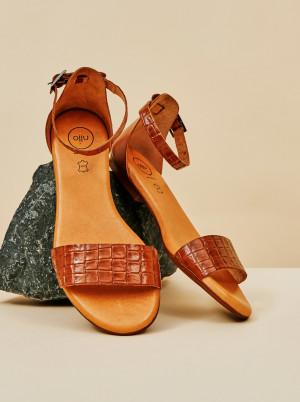 OJJU hnědé kožené sandály -