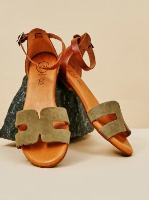 OJJU khaki semišové sandály -
