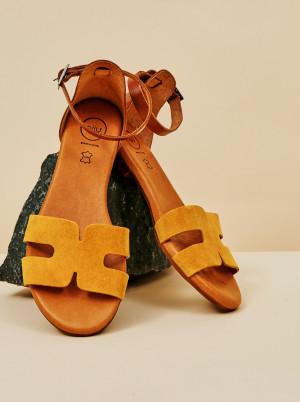 OJJU žluté semišové sandály -