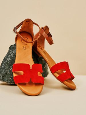 OJJU červené semišové sandály -