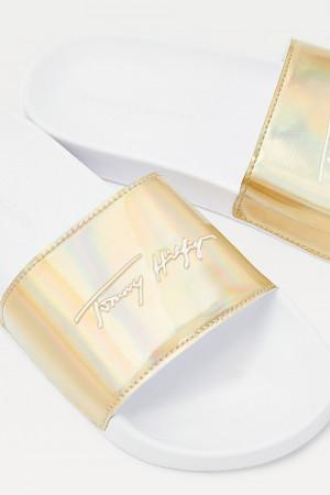 Dámské pantofle ve zlaté barvě Tommy Hilfiger Pool Slide -