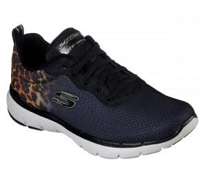 Skechers černé tenisky Flex Appeal 3 s leopardím vzorem -