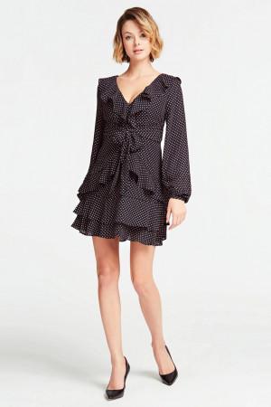 Guess puntíkované šaty s volány