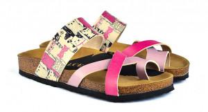Calceo růžové pantofle Thong Sandals Cats -