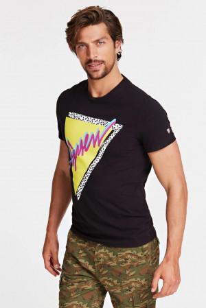 Guess černé pánské tričko Logo Frontale