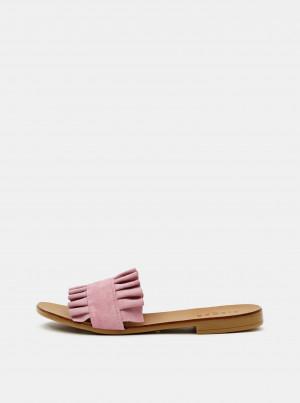 Růžové semišové pantofle Pieces Nynne -