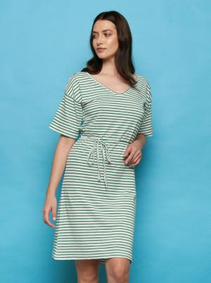 Tranquillo pruhované šaty Rola s tkaničkou