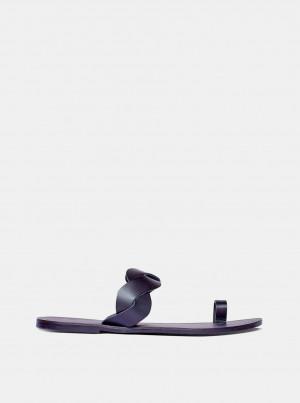 Černé kožené pantofle Dorothy Perkins -
