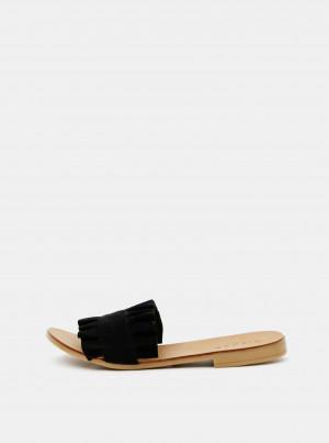 Černé semišové pantofle Pieces -