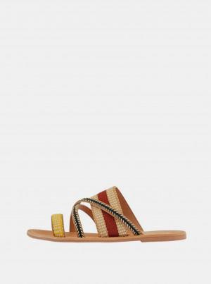 Béžové kožené pantofle Pieces Annilu -