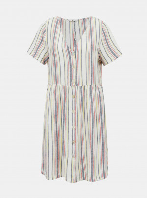 Krémové lněné pruhované šaty ONLY Alfina