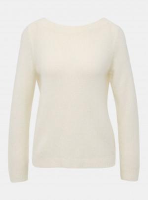 Krémový svetr s výstřihem na zádech Noisy May Sara