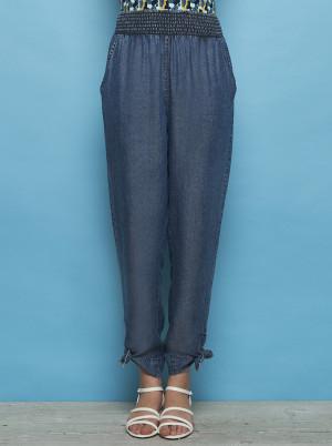 Tranquillo modré zkrácené džíny Kimara s vázáním u nohavic