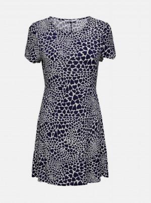 Tmavě modro-bílé vzorované šaty ONLY