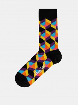Černé vzorované ponožky Happy Socks Optic Square - 36-40