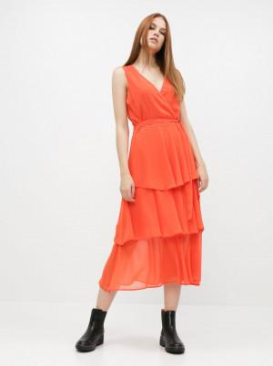 Oranžové midišaty Dorothy Perkins -