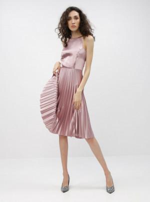 Růžové šaty s plisovanou sukní Dorothy Perkins -