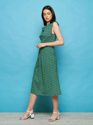 Tranquillo tmavě zelené šaty Isis