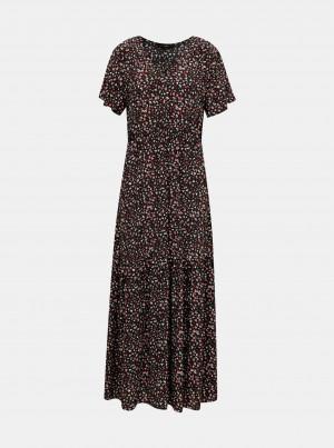 Černé květované maxišaty VERO MODA Dorianne