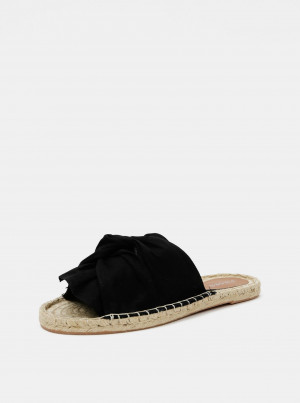 Černé jutové pantofle Pieces Alira -