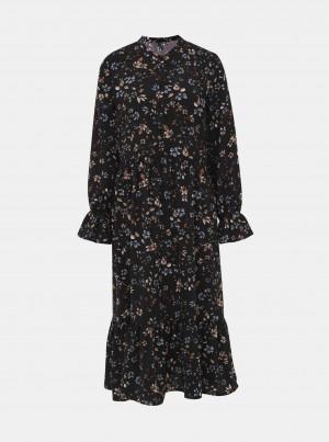 Černé květované midi šaty VERO MODA Myranda